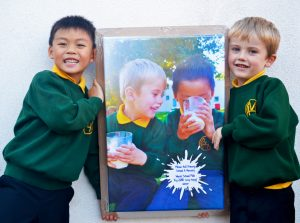 Snap happy! Pupils of Milton Hall Primary School and Nursery celebrate their World School Milk Day 2018 competition win